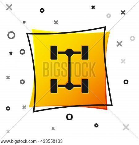 Black Chassis Car Icon Isolated On White Background. Yellow Square Button. Vector