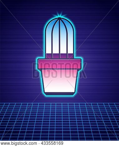 Retro Style Cactus And Succulent In Pot Icon Isolated Futuristic Landscape Background. Plant Growing