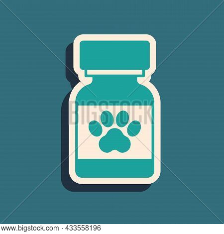 Green Medicine Bottle And Pills Icon Isolated On Green Background. Container With Pills. Prescriptio