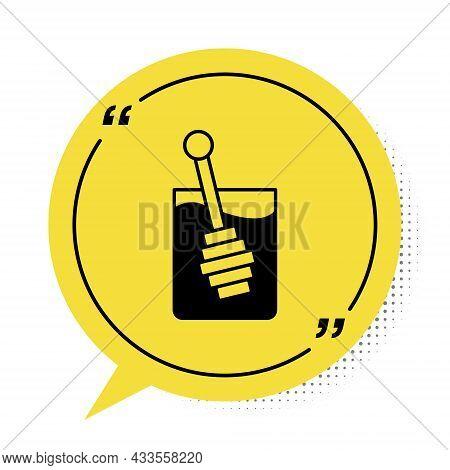 Black Honey Dipper Stick Icon Isolated On White Background. Honey Ladle. Yellow Speech Bubble Symbol