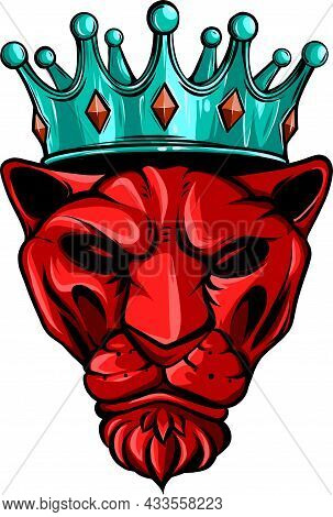 Simple Vector Of Tiger With The Crown
