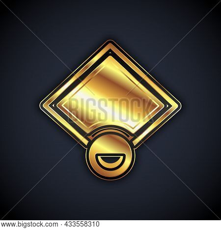 Gold Baseball Field Icon Isolated On Black Background. Baseball Map. Vector
