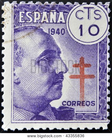 stamp printed by Spain shows Francisco Franco