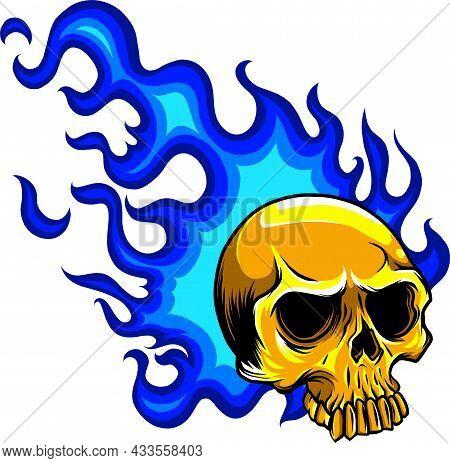 Head Skull Fire Vector Illustration Design Art