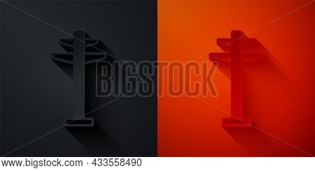 Paper Cut Electric Tower Used To Support An Overhead Power Line Icon Isolated On Black And Red Backg