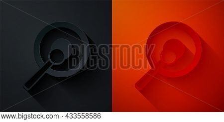 Paper Cut Gong Musical Percussion Instrument Circular Metal Disc And Hammer Icon Isolated On Black A