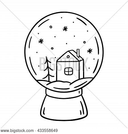 Glass Snow Globe Isolated On White Background. Christmas Toy Decorated With A House, Spruce And Snow