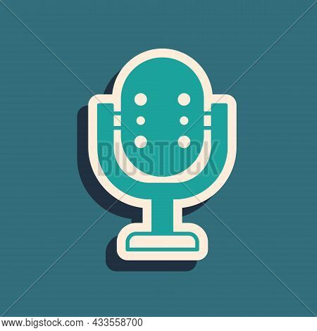 Green Microphone Icon Isolated On Green Background. On Air Radio Mic Microphone. Speaker Sign. Long