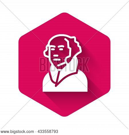 White George Washington Icon Isolated With Long Shadow Background. Pink Hexagon Button. Vector