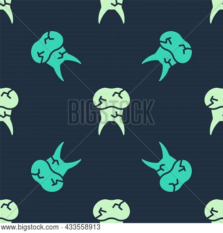 Green And Beige Tooth With Caries Icon Isolated Seamless Pattern On Blue Background. Tooth Decay. Ve