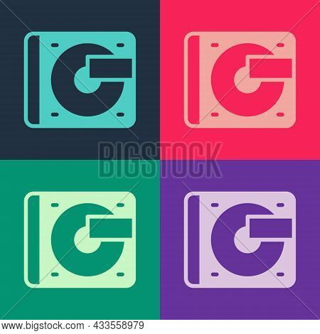 Pop Art Vinyl Player With A Vinyl Disk Icon Isolated On Color Background. Vector