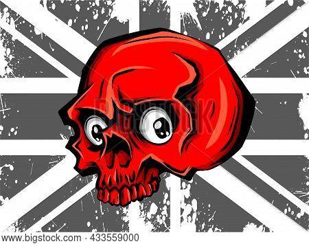 Skull And Flag. Red Flat Icon. Vector Illustration Symbol