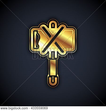 Gold Medieval Axe Icon Isolated On Black Background. Battle Axe, Executioner Axe. Medieval Weapon. V