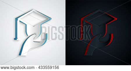 Paper Cut Education Grant Icon Isolated On Grey And Black Background. Tuition Fee, Financial Educati