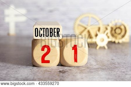 October 21Th . October 21 White Wooden Calendar On White Background. Autumn Day. Copy Space For Your