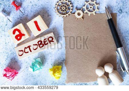October 21St. Image Of October 21 Wooden Color Calendar On Blue Background. Autumn Day.