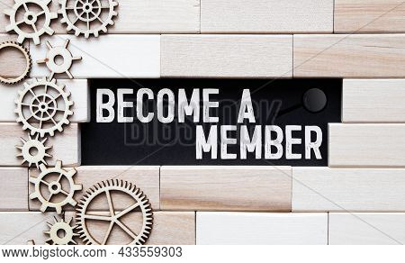 Top Angle View Of Pen And Notebook Written With Text Become A Member. Business And Education Concept