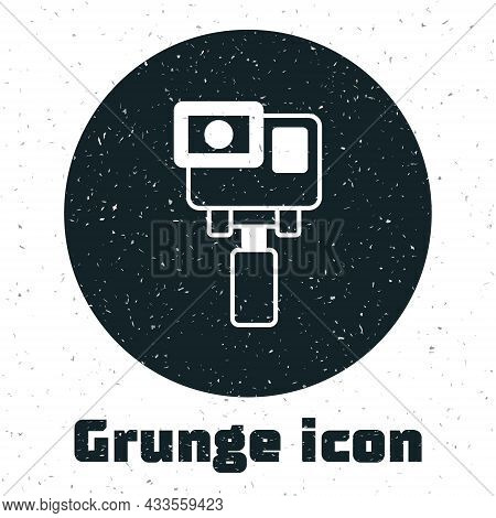 Grunge Action Extreme Camera Icon Isolated On White Background. Video Camera Equipment For Filming E