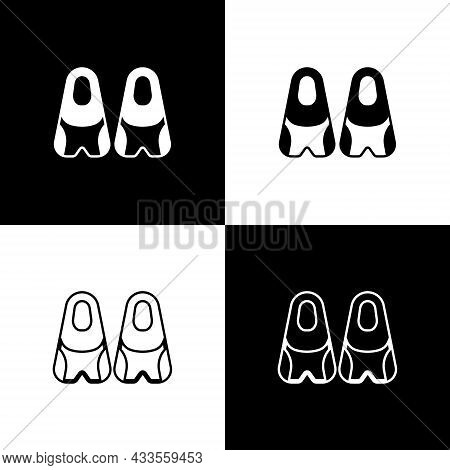 Set Rubber Flippers For Swimming Icon Isolated On Black And White Background. Diving Equipment. Extr