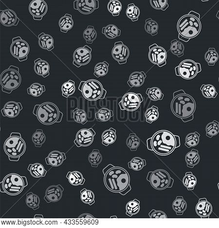 Grey Ramen Soup Bowl With Noodles Icon Isolated Seamless Pattern On Black Background. Bowl Of Tradit