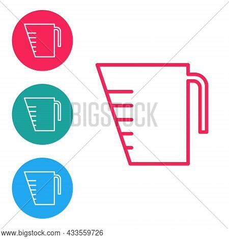 Red Line Measuring Cup To Measure Dry And Liquid Food Icon Isolated On White Background. Plastic Gra
