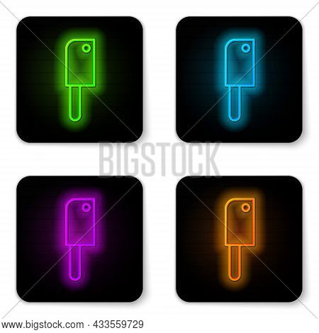 Glowing Neon Line Meat Chopper Icon Isolated On White Background. Kitchen Knife For Meat. Butcher Kn