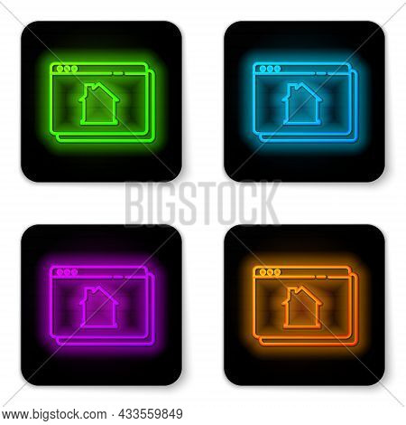 Glowing Neon Line Online Real Estate House In Browser Icon Isolated On White Background. Home Loan C