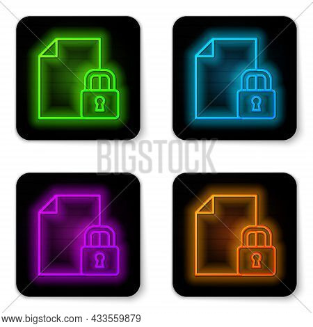 Glowing Neon Line Document And Lock Icon Isolated On White Background. File Format And Padlock. Secu