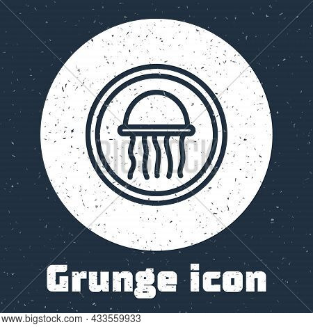 Grunge Line Jellyfish On A Plate Icon Isolated On Grey Background. Monochrome Vintage Drawing. Vecto