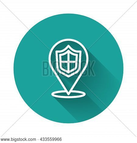 White Line Location Shield Icon Isolated With Long Shadow. Insurance Concept. Guard Sign. Security,
