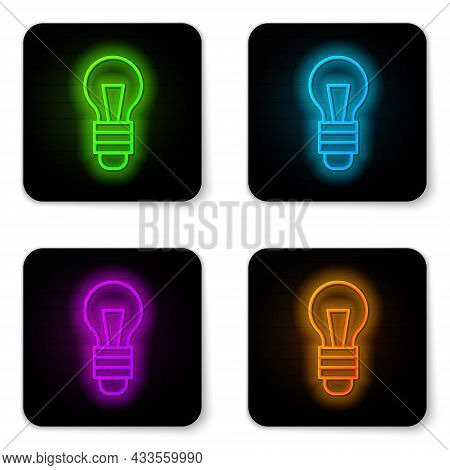 Black Light Bulb With Concept Of Idea Icon Isolated On Black Background. Energy And Idea Symbol. Ins
