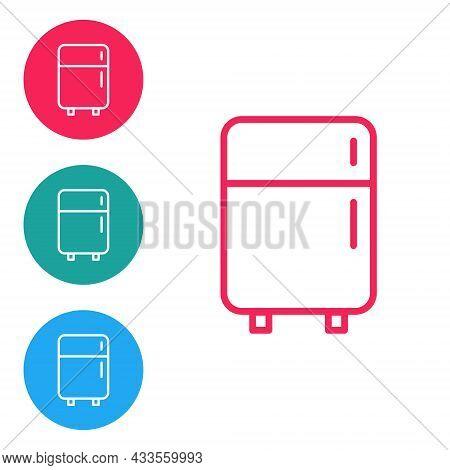 Isometric Refrigerator Icon Isolated On Orange Background. Fridge Freezer Refrigerator. Household Te