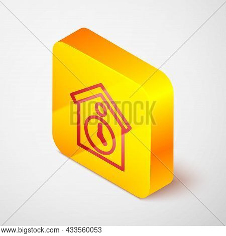 Isometric Line Retro Wall Watch Icon Isolated On Grey Background. Cuckoo Clock Sign. Antique Pendulu