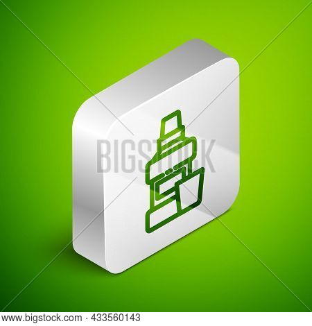 Isometric Line Mouthwash Plastic Bottle And Glass Icon Isolated On Green Background. Liquid For Rins
