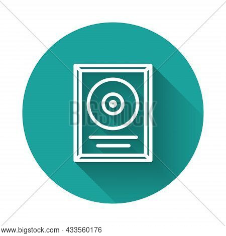 White Line Cd Disk Award In Frame Icon Isolated With Long Shadow. Modern Ceremony. Best Seller. Musi