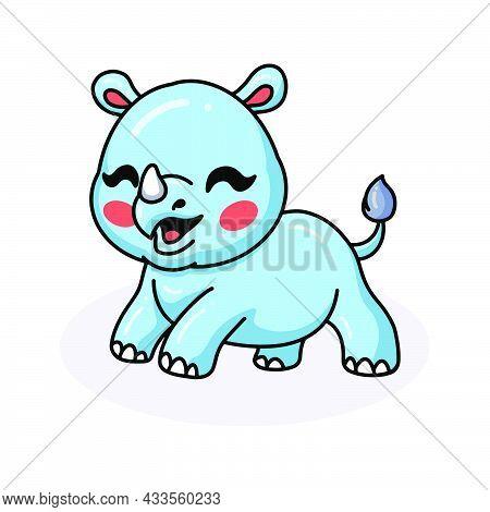 Vector Illustration Of Cute Happy Baby Rhino Cartoon