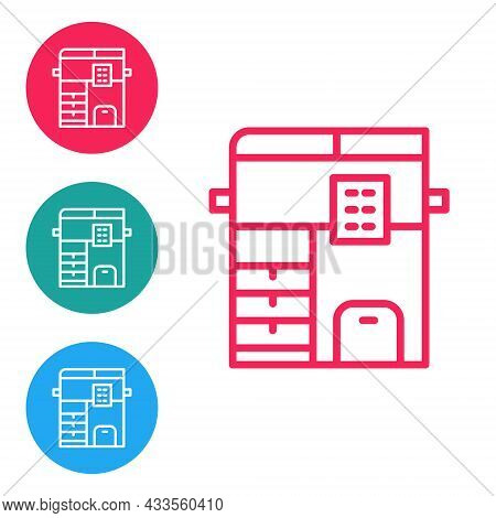 Red Line Office Multifunction Printer Copy Machine Icon Isolated On White Background. Set Icons In C