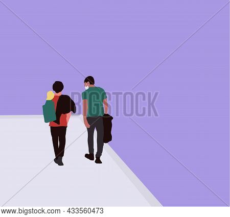 Two Male Friends In Medical Face Mask Talking While Walking Down The Street, Friendship Concept Vect