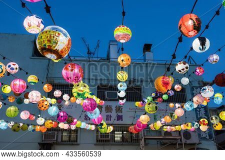 Tai O, Hong Kong 17 September 2021: Mid Autumn festival in fishing village in Hong Kong