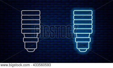 Glowing Neon Line Led Light Bulb Icon Isolated On Brick Wall Background. Economical Led Illuminated