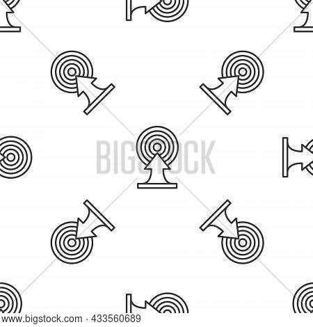 Grey Line Target With Arrow Icon Isolated Seamless Pattern On White Background. Dart Board Sign. Arc