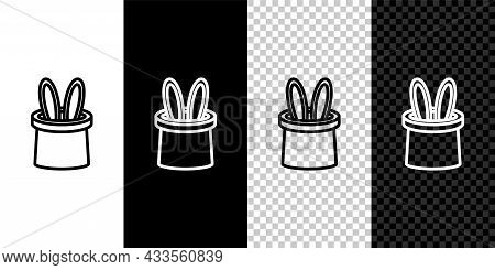 Set Line Magician Hat And Rabbit Ears Icon Isolated On Black And White, Transparent Background. Magi