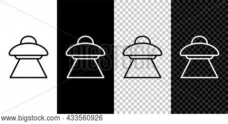 Set Line Ufo Flying Spaceship Icon Isolated On Black And White, Transparent Background. Flying Sauce