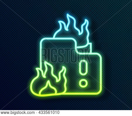 Glowing Neon Line Fire In Burning House Icon Isolated On Black Background. Vector