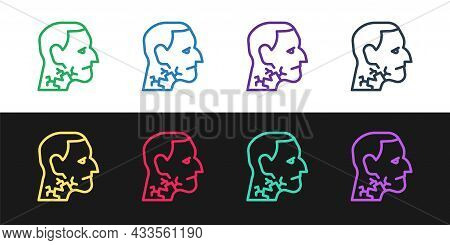 Set Line Throat Cancer Icon Isolated On Black And White Background. Laryngeal Cancer. Vector