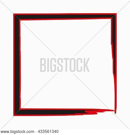 Doodle Square Frame Icon. Red And Black Colors. Brush Stroke Style. Handdrawn Picture. Vector Illust