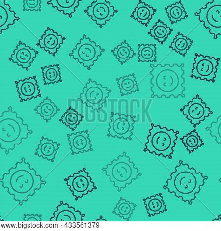 Black Line Lsd Acid Mark Icon Isolated Seamless Pattern On Green Background. Acid Narcotic. Postmark