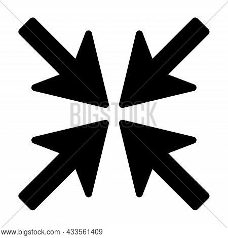 Four Arrows Inward Icon. Simple Illustration. Line Emblem. Navigation Pointer. Vector Illustration.