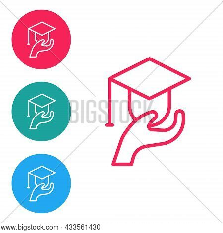 Red Line Education Grant Icon Isolated On White Background. Tuition Fee, Financial Education, Budget