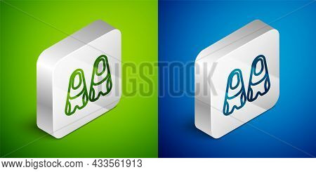 Isometric Line Rubber Flippers For Swimming Icon Isolated On Green And Blue Background. Diving Equip